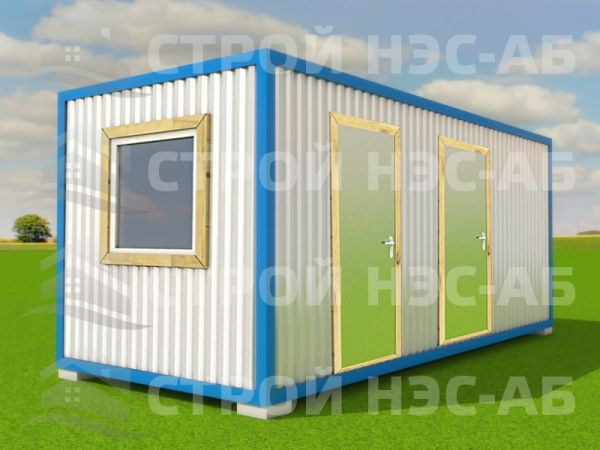 Блок-контейнер БКо-026 2,5х7,0 (2 вх, 4 окна, 2 тамб) Двп